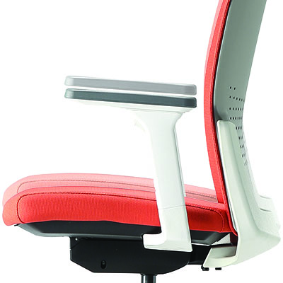 Aone task chair in white with orange seat and back