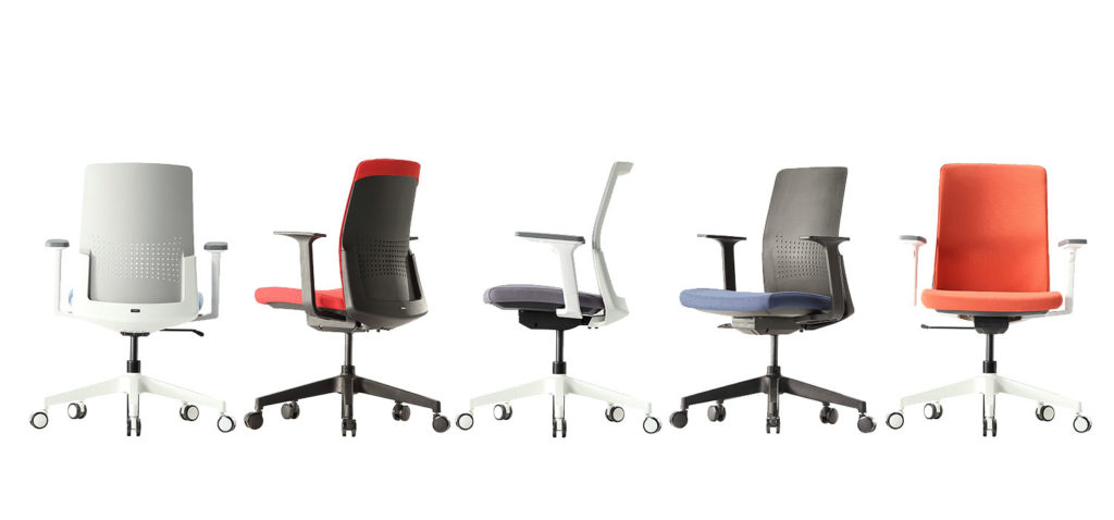 Aone task chairs in black and white with orange seat and back