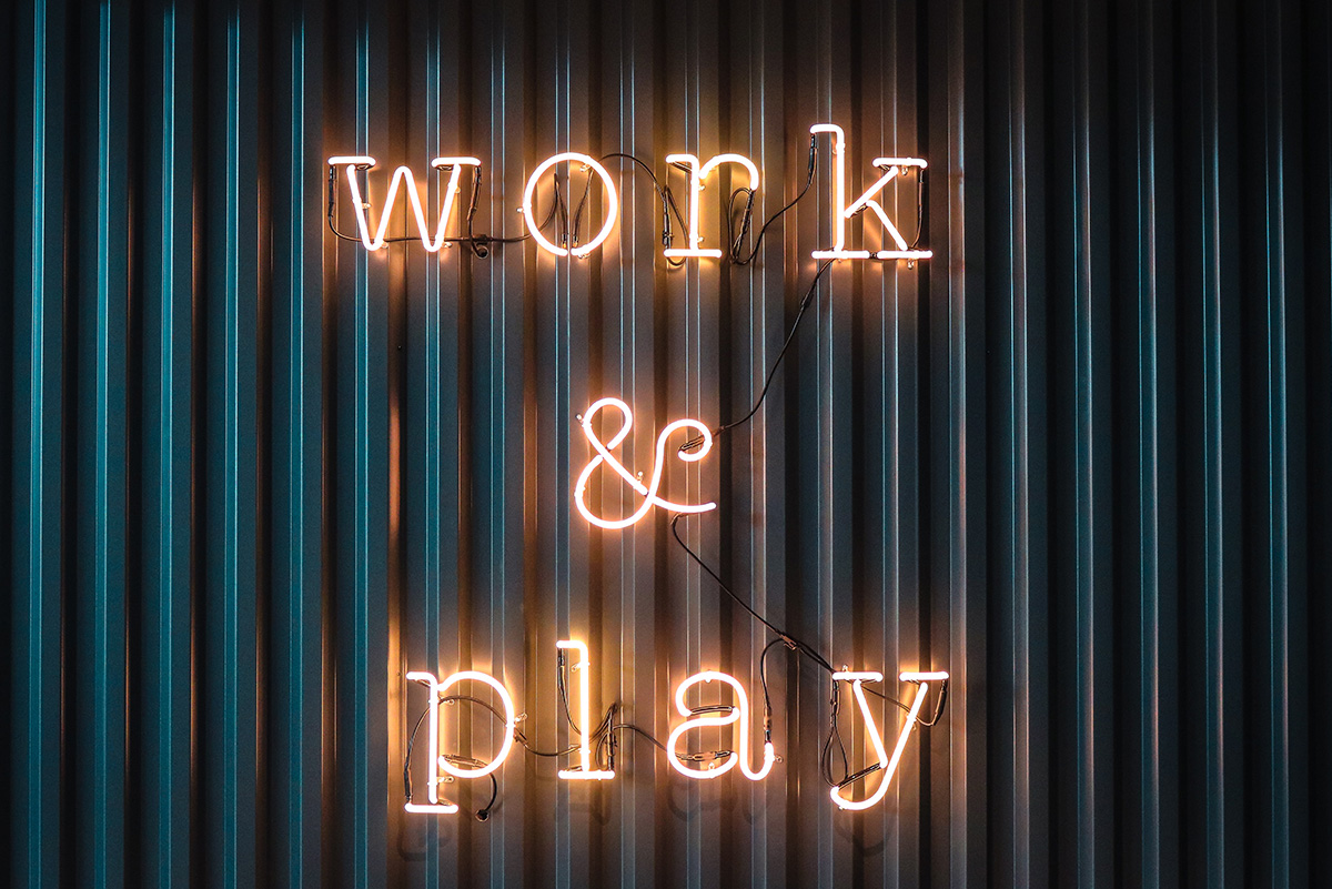 Play at work with a play sign
